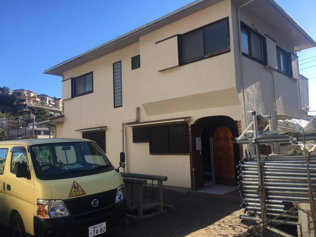 横浜市 K幼稚園敷地内のご自宅の外壁塗り替え工事・ベランダ防水工事を行いました!